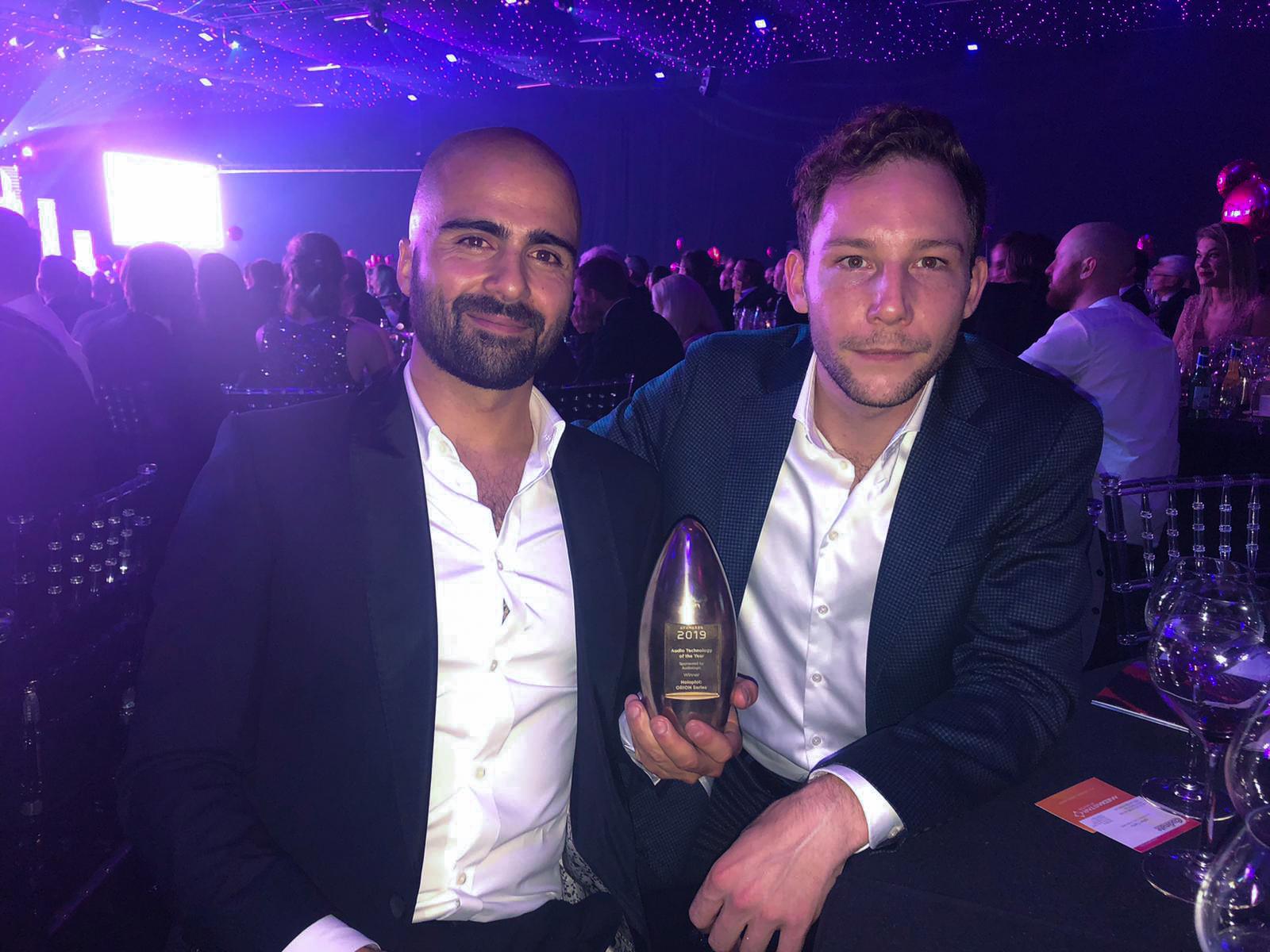 Roman Sick (CEO) and Tobias Wulf (Senior Growth Manager) from Holoplot at the AV Award 2019 Ceremony. Photo: Holoplot GmbH