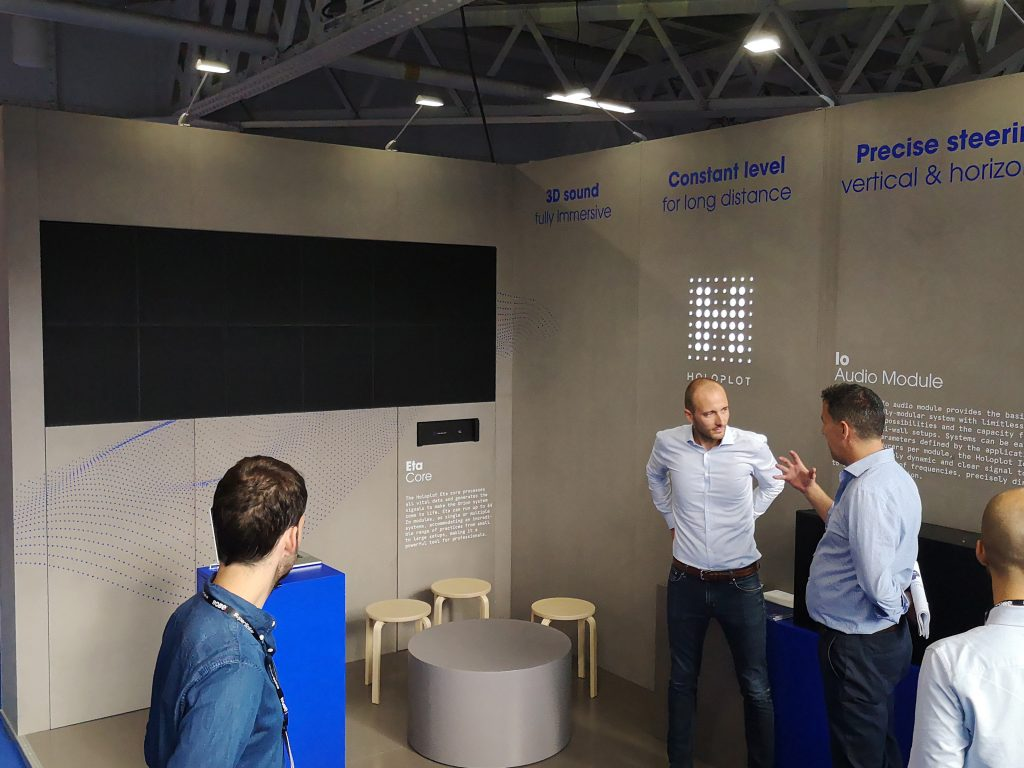 Holoplot booth at PLASA 2018 for demos of immersive sound experiences
